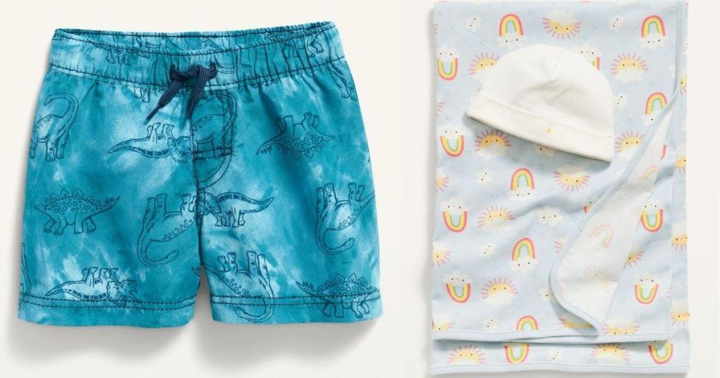 Boys Swim Shorts and Swaddle