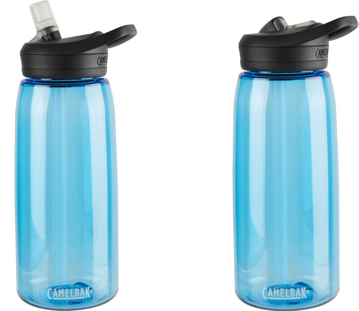 two blue water bottles
