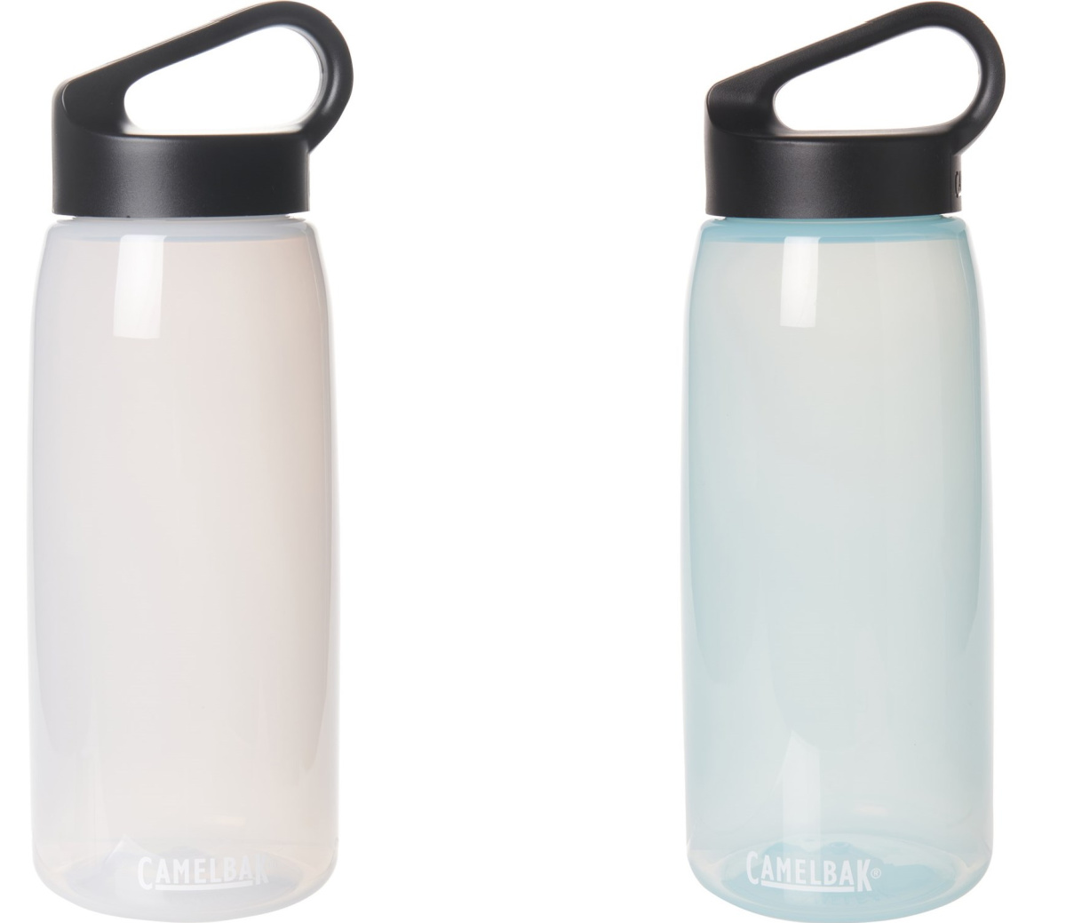 two white water bottles with black lids