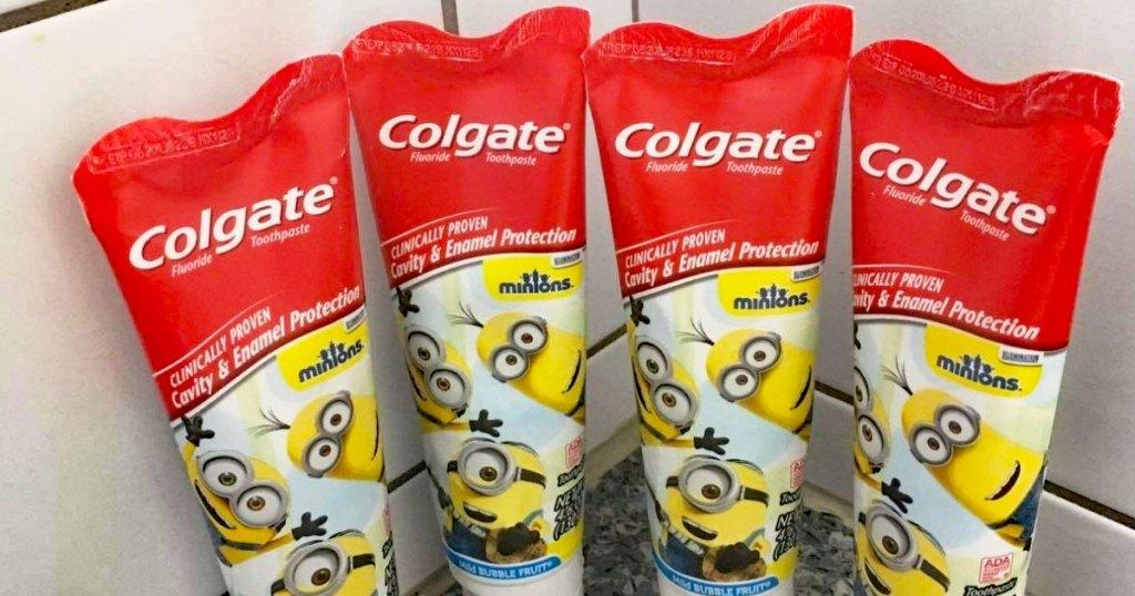 four tubes of colgate kids toothpaste