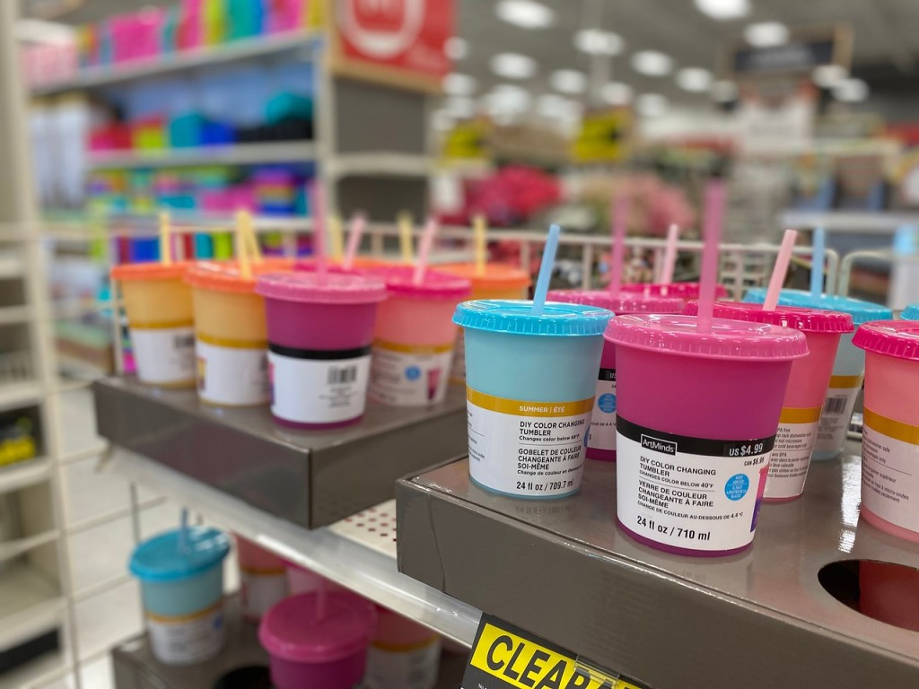 Color Changing Tumblers on store display