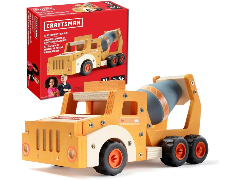 kids wooden cement truck building set