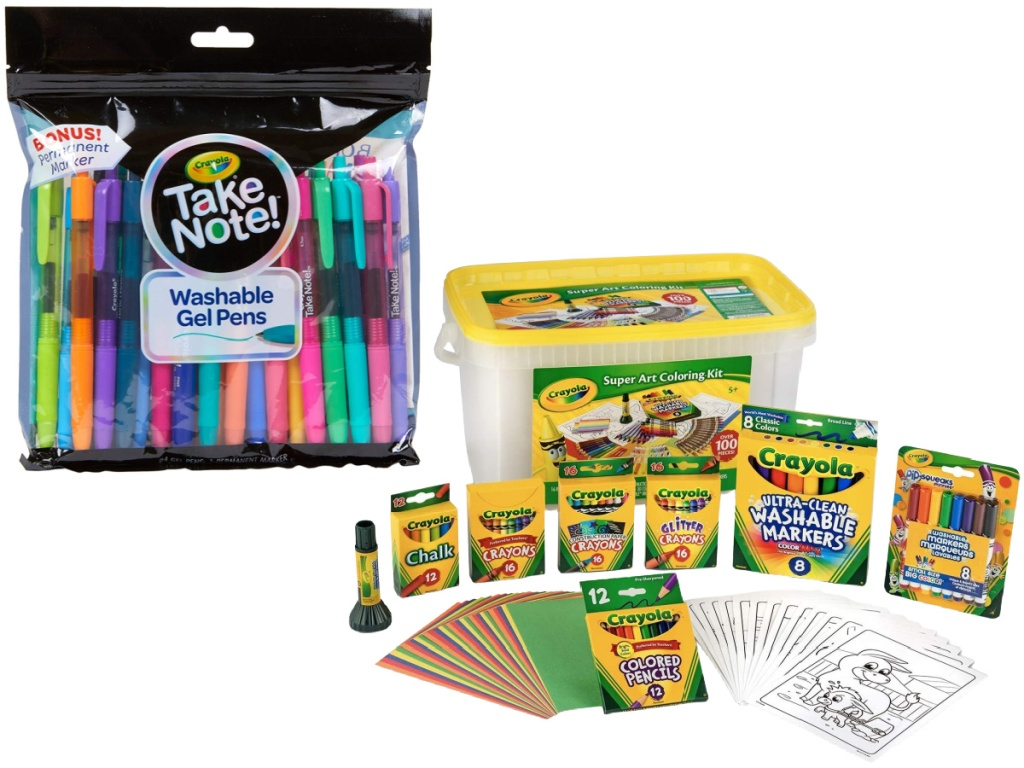Crayola 24-Count Colored Gel Pens and Crayola 100-Piece Super Art Coloring Kit