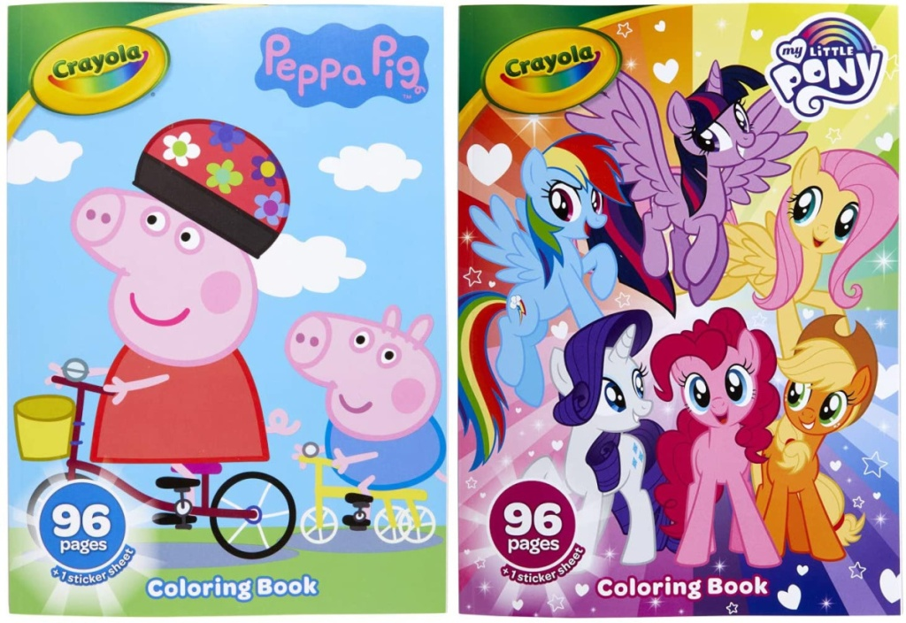 peppa pig and my little pony crayola coloring books