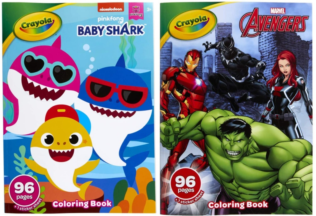baby shark and marvel avengers crayola coloring books