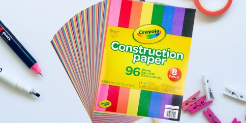 Crayola Construction Paper 96-Pack Only $2.46 | Great for Crafts & School Projects