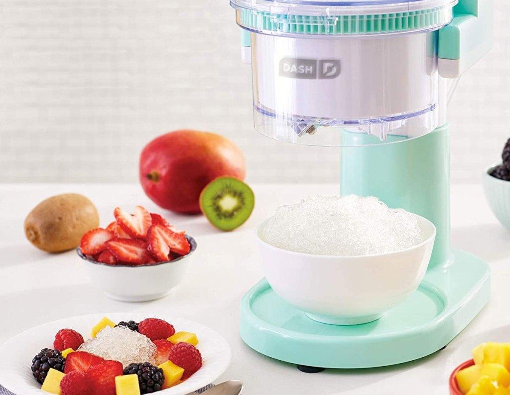 Dash shaved ice maker and fruit surrounding machine