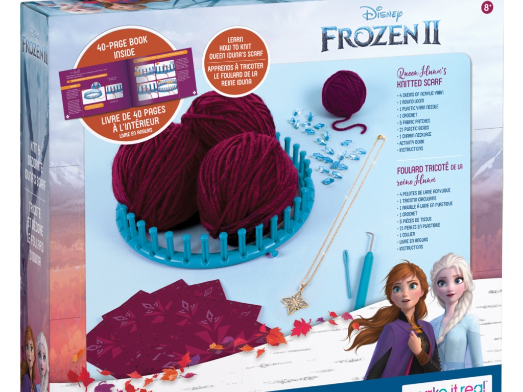 Disney Frozen 2 Queen Iduna's Knitted Shawl Kit in the box