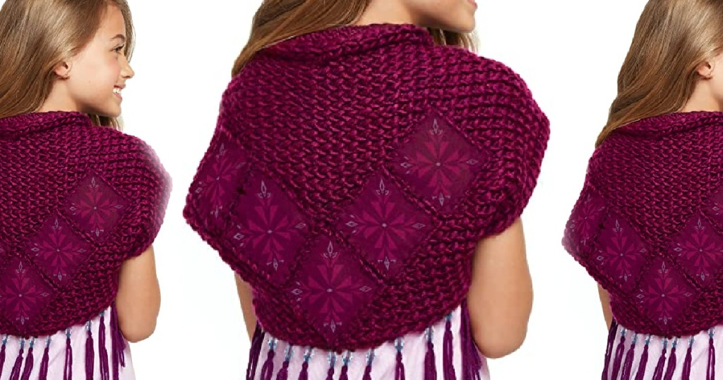 girl wearing a maroon knitted shawl