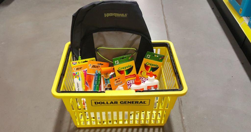 school supplies in Dollar General basket