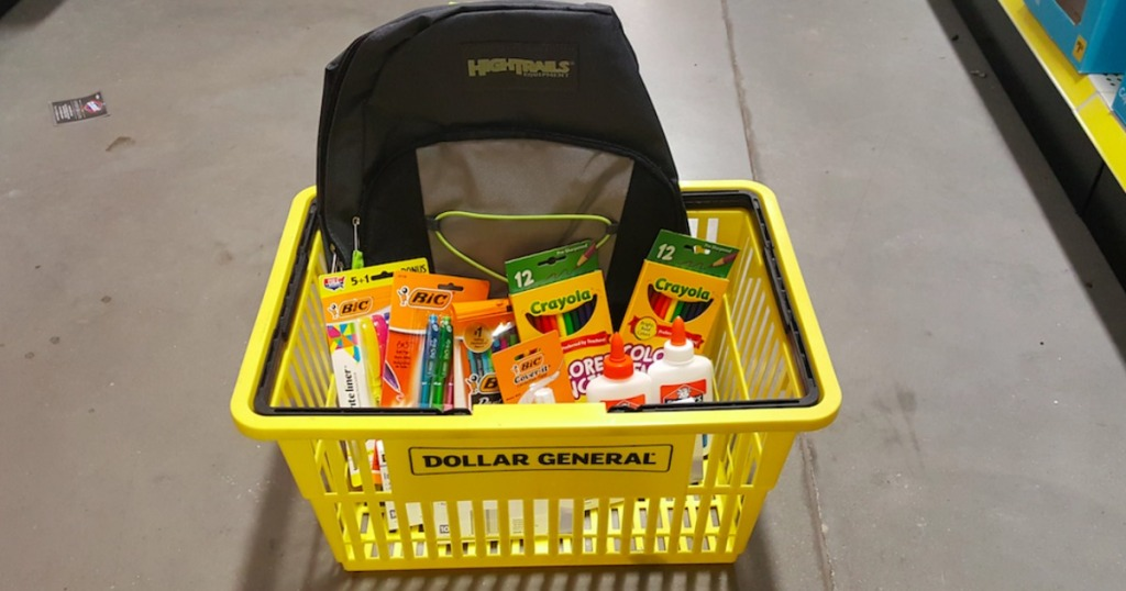 Dollar General School Supplies and Backpack in a basket