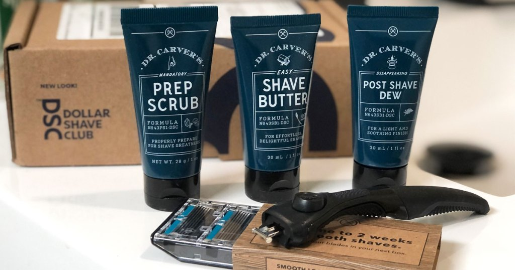 dollar shave club products and razor in front of box