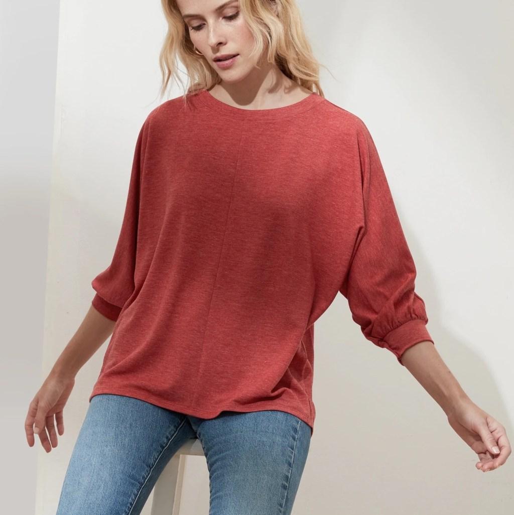 Woman modeling Dolman Sweatshirt