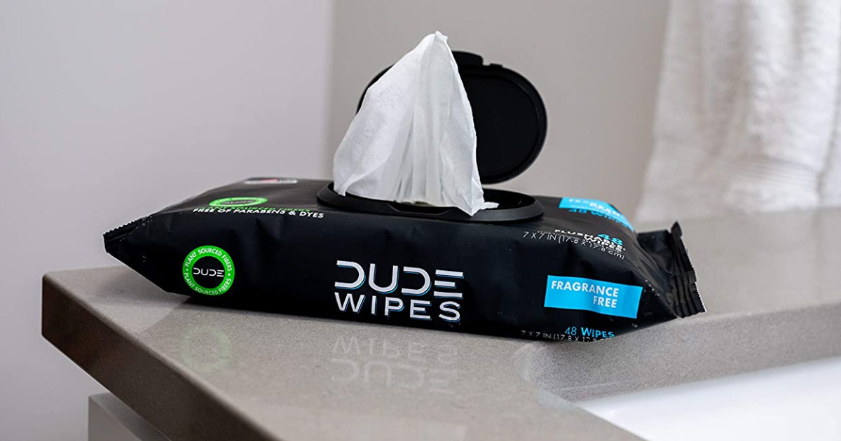 Package of Dude Wipes on counter