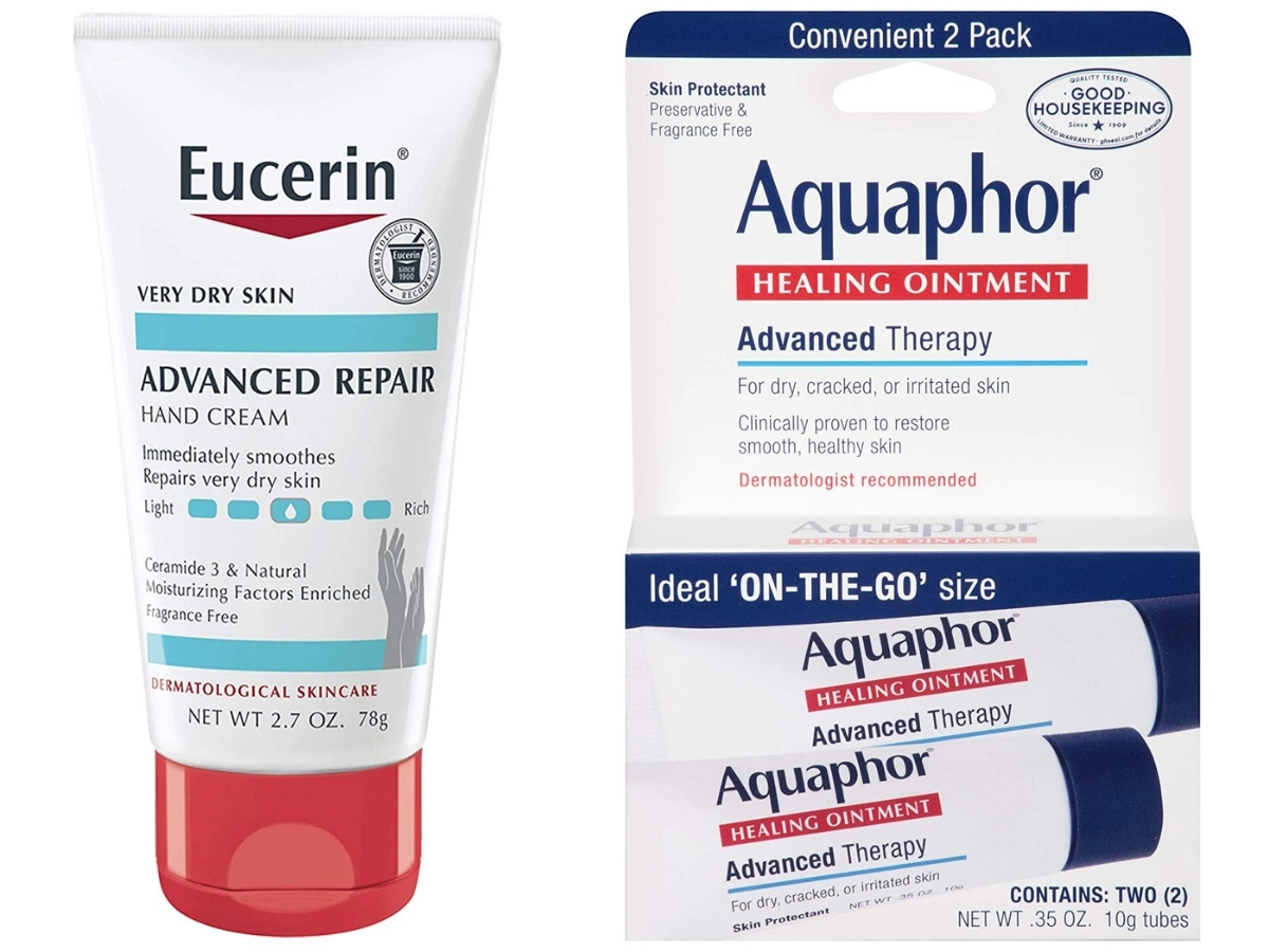 Eucerin Advanced Repair Hand Creme and Aquaphor Healing Ointment