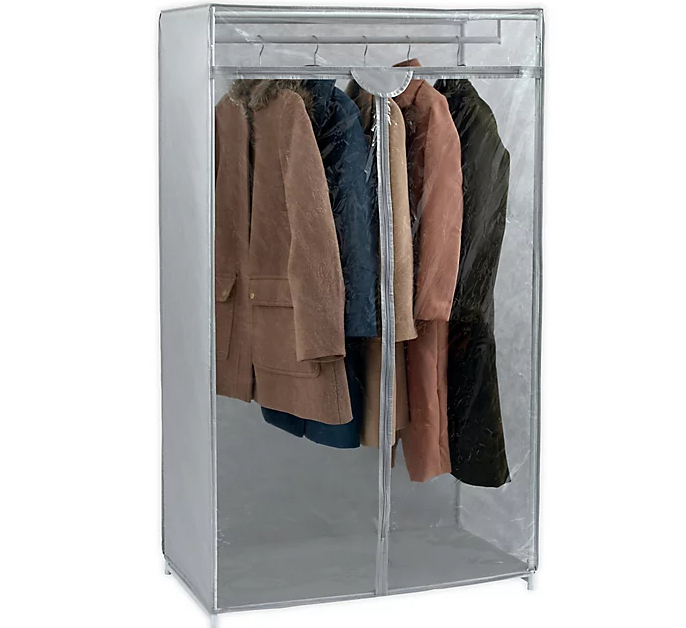 Extra Closet with clothing hanging
