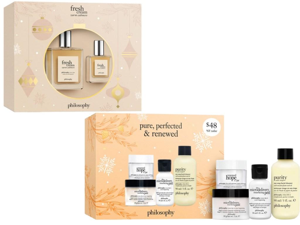 Fresh Cream Warm Cashmere 2-Piece Eau De Toilette Holiday Set and Pure, Perfected & Renewed 3-Piece Skin Care Set