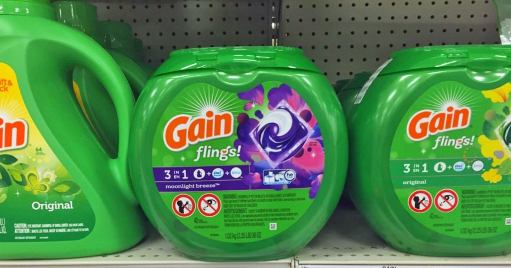containers of gain flings on shelf