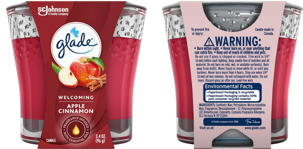 front and back view of cnadle