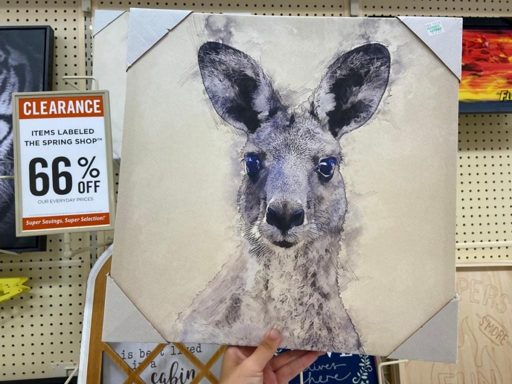 Gray Kangaroo Canvas Wall Decor