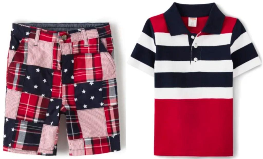 boys madras shorts and polo shirt