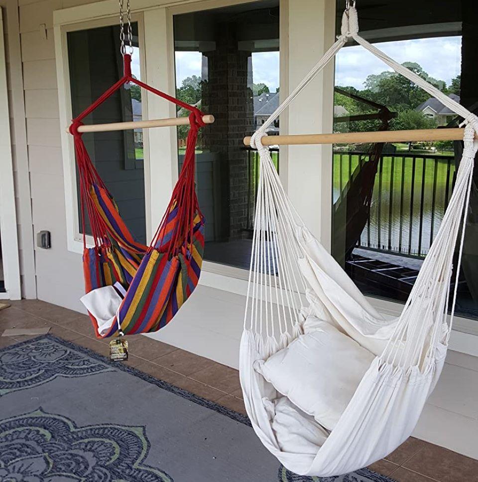 two hammock chairs