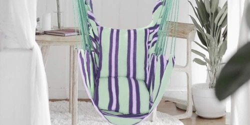 Indoor/Outdoor Hanging Hammock w/ Cushioned Seat Just $32.99 Shipped (Regularly $65)