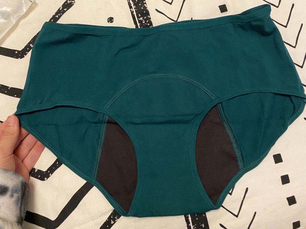 pair of green period panties