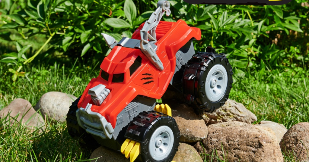 large animal themed truck toy outdoors