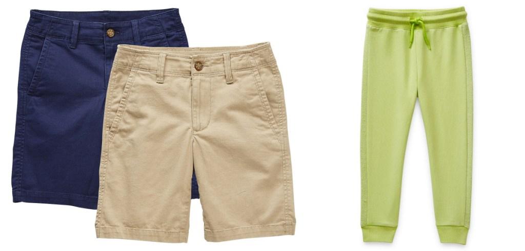 boys uniform shorts and green joggers