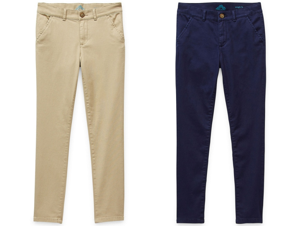 tan and navy girls uniform pants