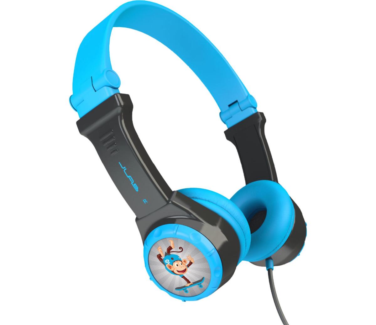 kids blue and black headphones