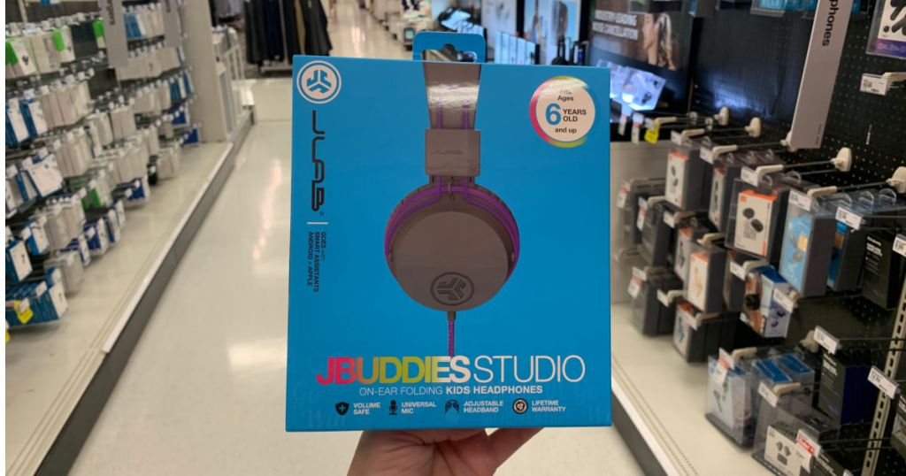 blue box with kids' headphones on front
