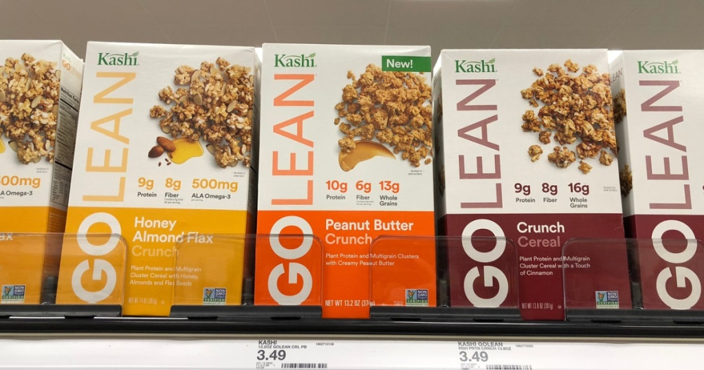 cereal boxes on store shelf