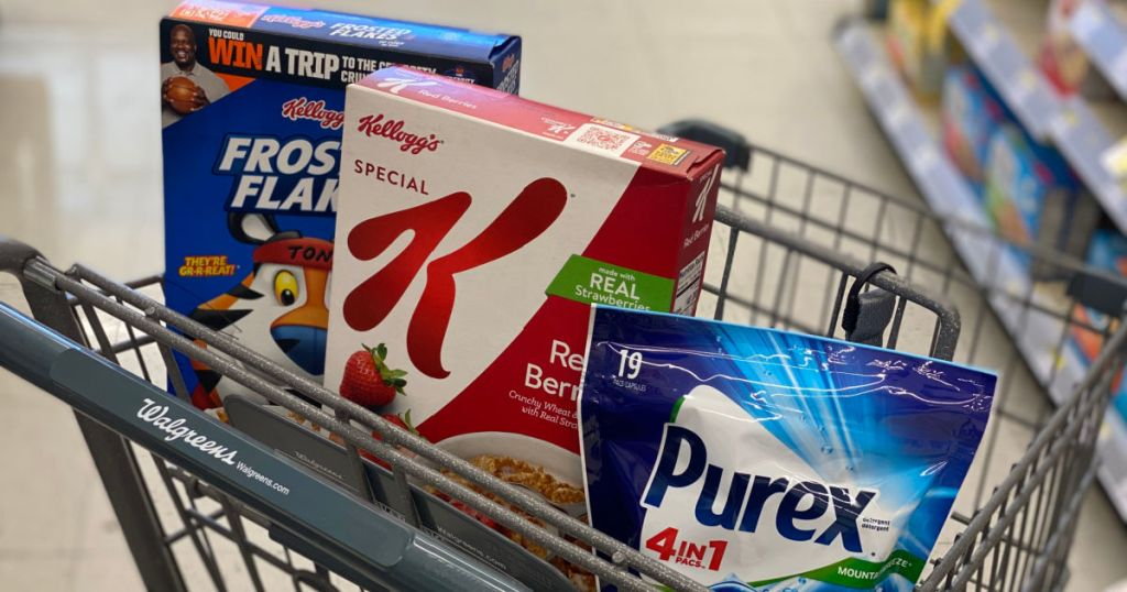 cereal and detergent in basket
