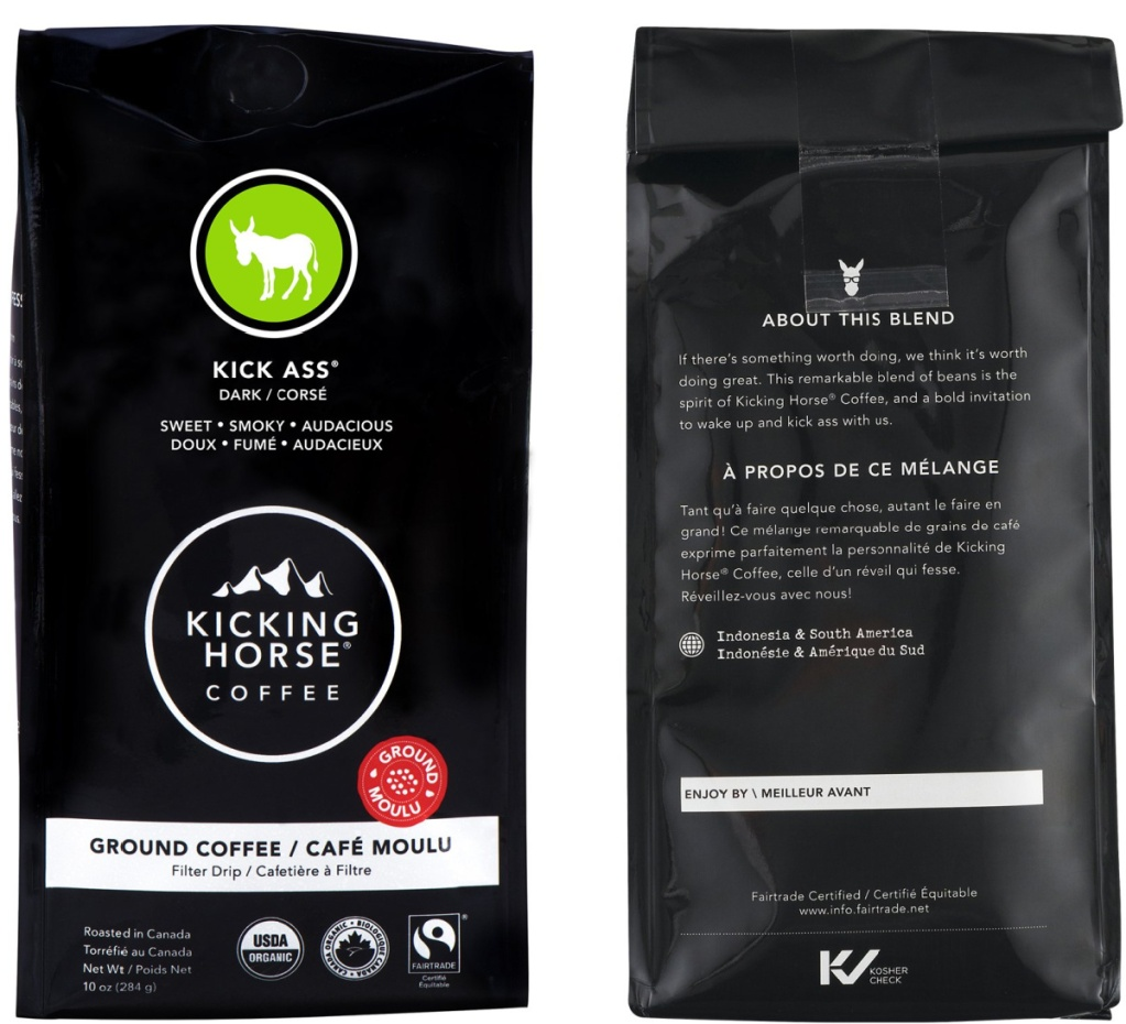 front and back view of a dark roast bag of coffee