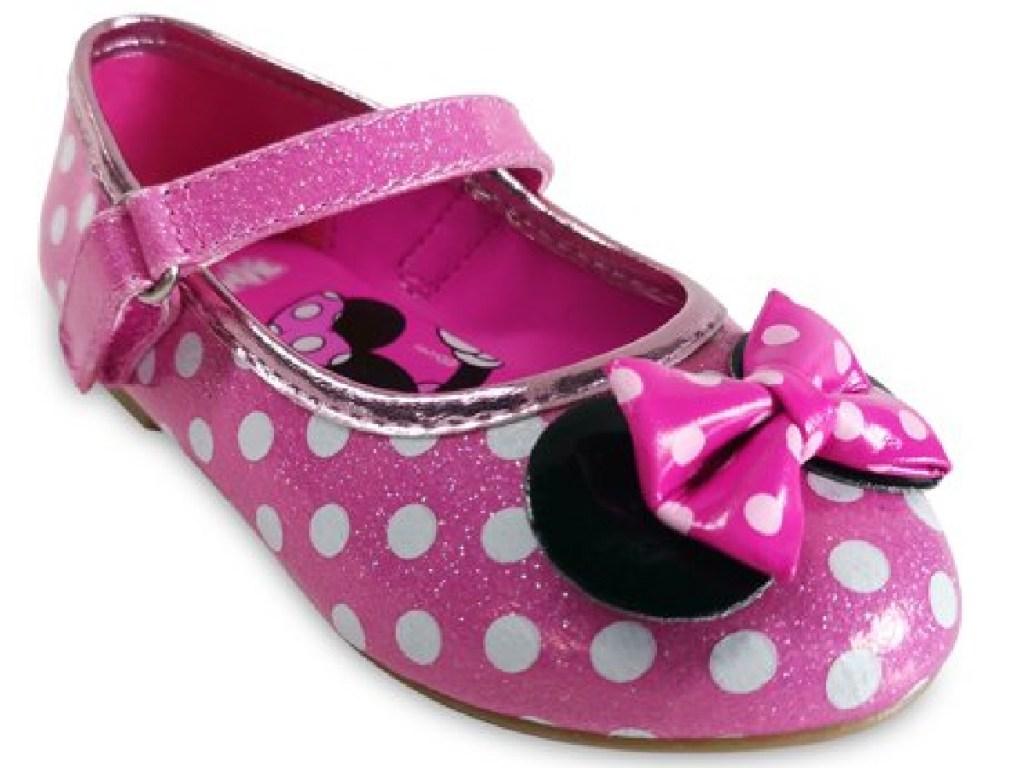 pink miniie mouse polka dot flats