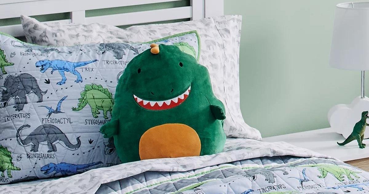 Kids Dinosaur Squishy Critter Throw Pillow