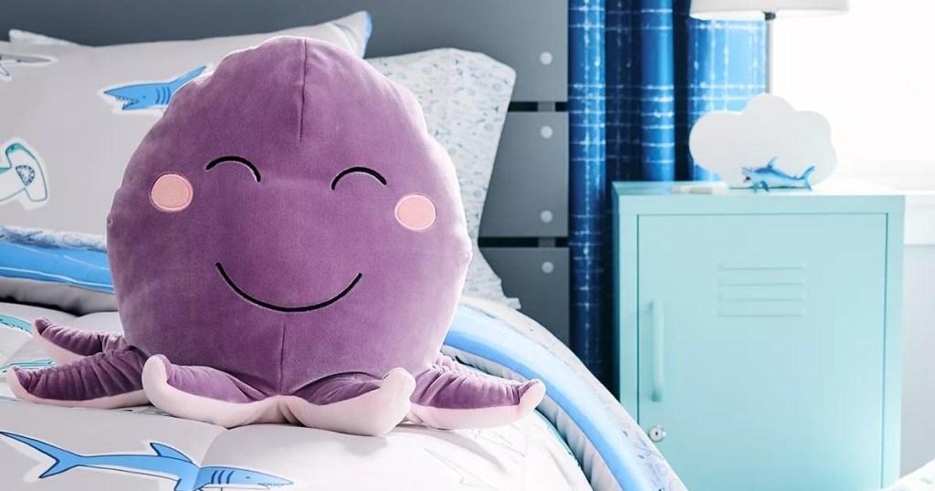 Kids Purple Octopus Squishy Throw Pillow