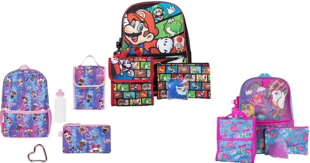 LOL Surprise, Mario and Jojo Siwa Kids Backpack Sets