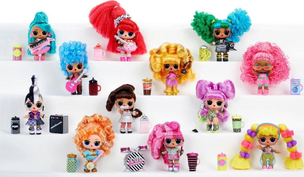 variety of LOL hair flip dolls