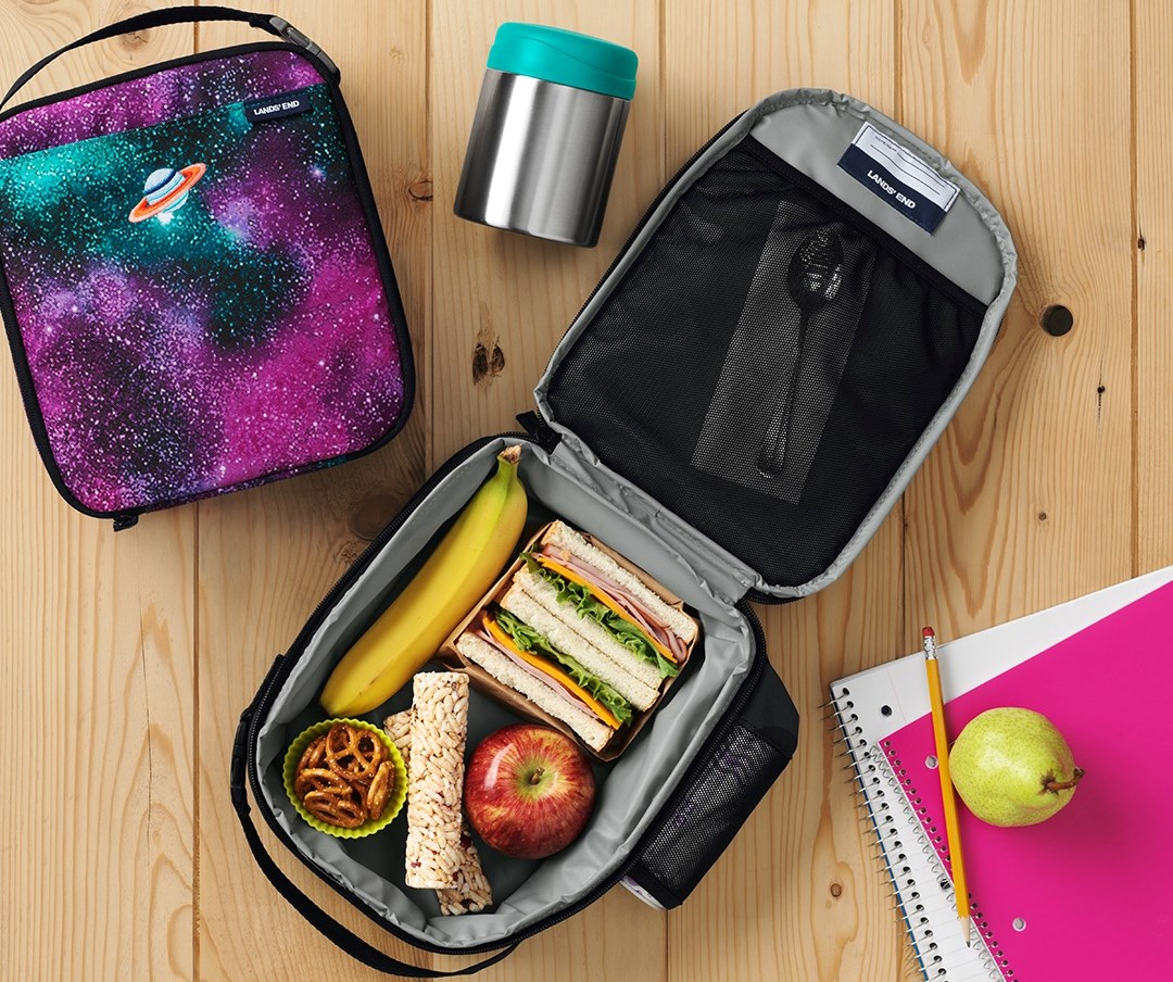 open lunch box with food in it