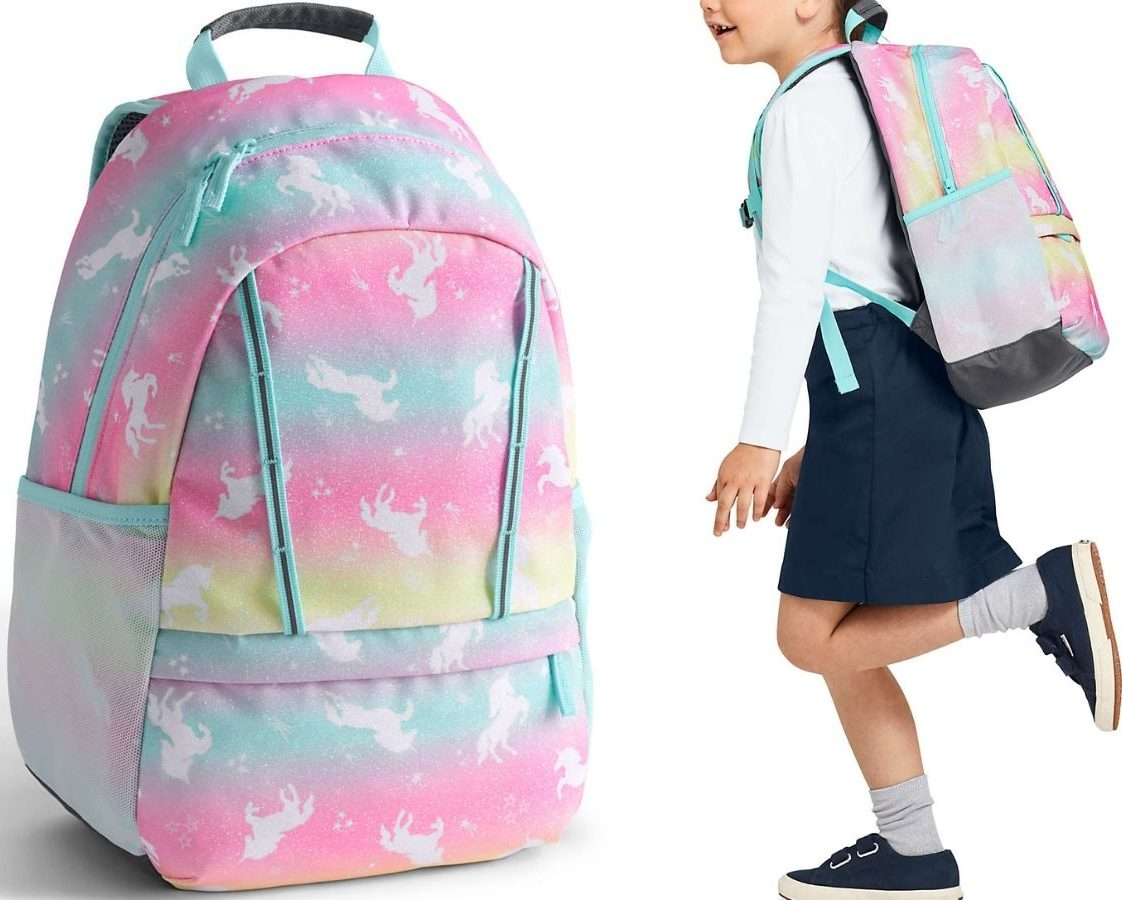 Lands' End Small Backpack by itself and on young girl