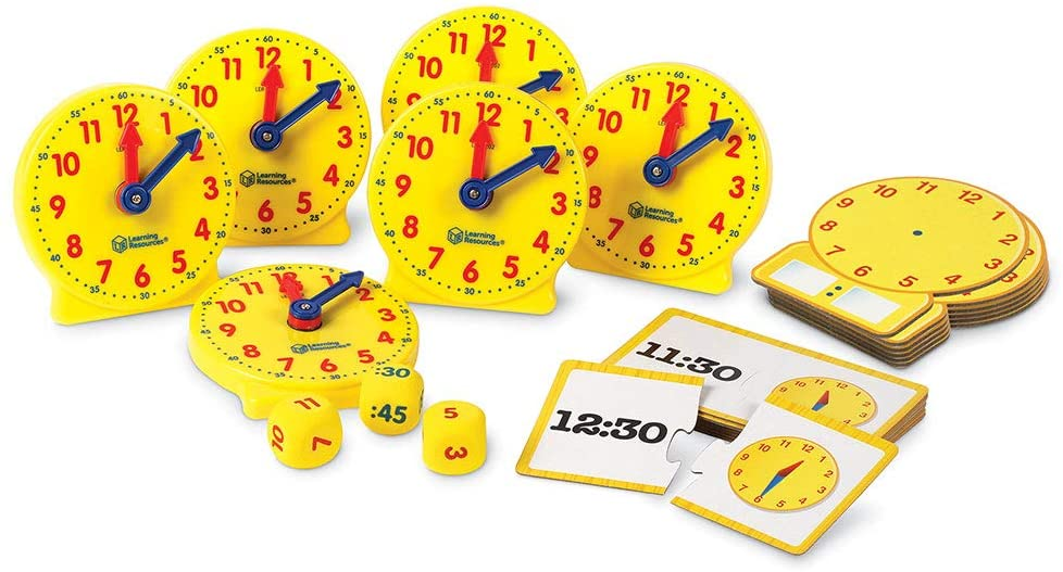 Learning Resources Time Set showing play clocks and flash cards