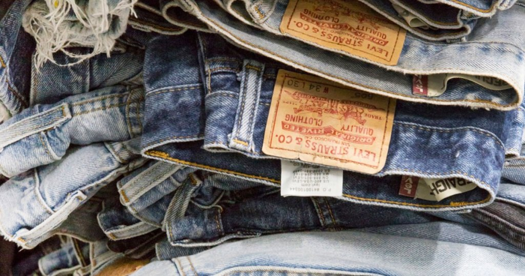 stack of levi's jeans