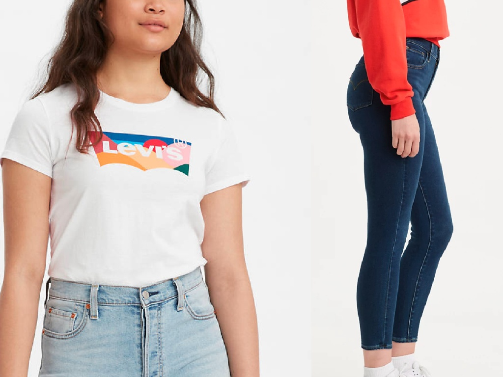 women's Levis tee and jeans
