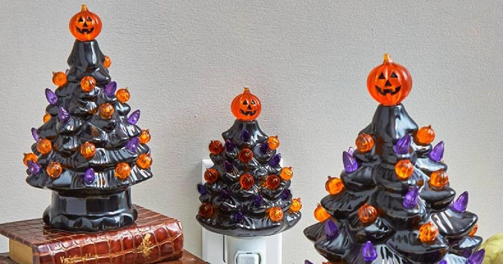 Lighted Retro Halloween Trees-3