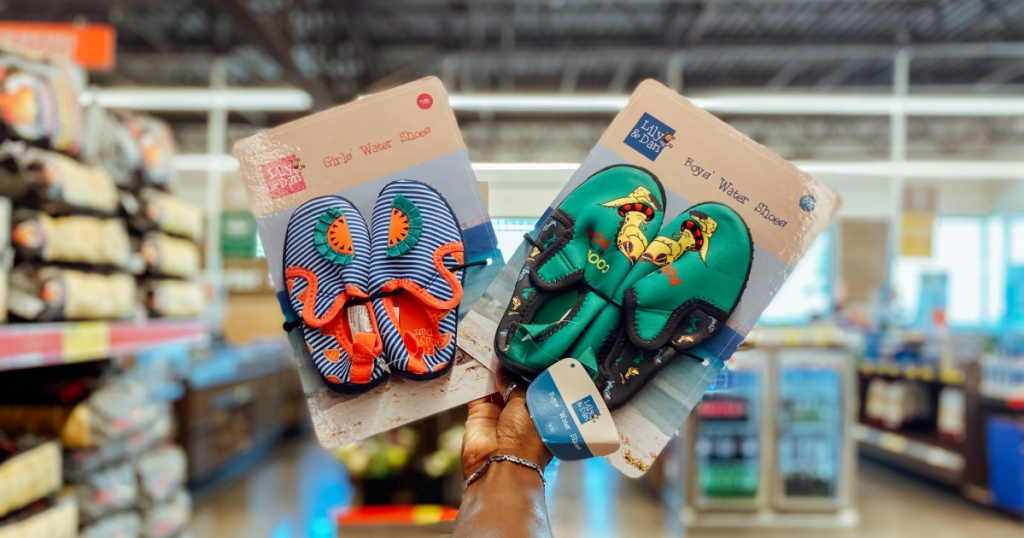 Kids water shoes on display in-store