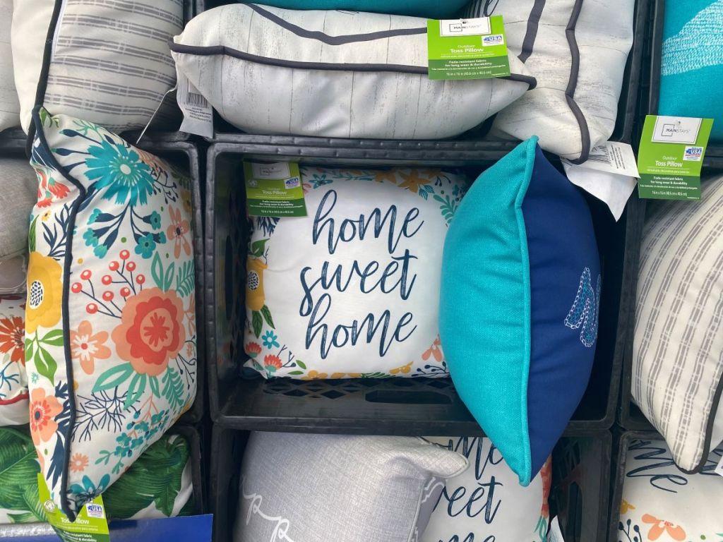 display of pillows at Walmart