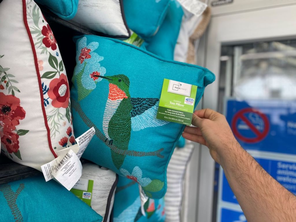 hand holding a pillow with a hummingbird on it